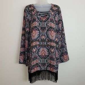 Blu Pepper Multicolored Long Sleeve Fringed Tunic